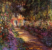 Waterlilies At Giverny Framed Prints - Pathway In Monets Garden In Giverny Framed Print by Claude Monet