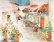Streetscape Painting Originals - Patio De Las Campanas  by Pat Katz