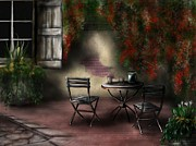 Bistro Paintings - Patio Garden by Ron Grafe
