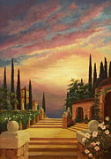 Stone Steps Framed Prints - Patio il Tramonto or Patio at Sunset Framed Print by Evie Cook