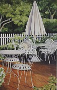 Table And Chairs Framed Prints - Patio Patterns Framed Print by Susan  Foster