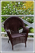 Wicker Chair Prints - Patio Seat Print by Kim Michaels