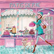 Cake Mixed Media Framed Prints - Patisserie Framed Print by Caroline Bonne-Muller