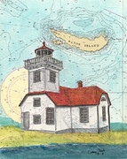 Paintng Posters - Patos Island Lighthouse WA Nautical Chart Map Art Poster by Cathy Peek