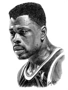 New York Knicks Framed Prints - Patrick Ewing Framed Print by Harry West