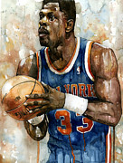 Basketball Sports Mixed Media Prints - Patrick Ewing Print by Michael  Pattison