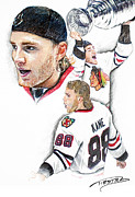 Hockey Pastels Posters - Patrick Kane - the Moment Poster by Jerry Tibstra