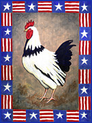 Rooster Posters - Patrick Patriotic Poster by Linda Mears