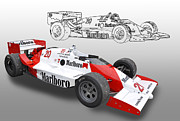 Indy Car Framed Prints - Patrick Racing Marlboro INDY Race Car Framed Print by Tad Gage