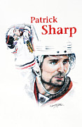 Hockey Pastels Posters - Patrick Sharp - The Cup Run Poster by Jerry Tibstra