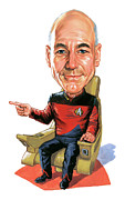 Jean Luc Picard Framed Prints - Patrick Stewart as Jean-Luc Picard Framed Print by Art