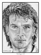 Closeups Drawings Framed Prints - Patrick Swayze in 1989 Framed Print by J McCombie