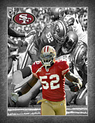 Football Helmets Posters - Patrick Willis 49ers Poster by Joe Hamilton