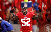 Nfl  Framed Prints - Patrick Willis celebrating Framed Print by Sanely Great