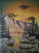 Reflections Of Sky In Water Painting Posters - Patriot Mountain in Winter Poster by Lee Bowman