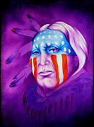 Native American Painting Metal Prints - Patriot Metal Print by Robert Martinez