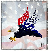 Yeallow Prints - Patriotic Bald Eagle with Theme USA Flag Print by Luis Padilla