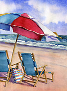 4th July Painting Prints - Patriotic Beach Umbrellas Print by Beth Kantor