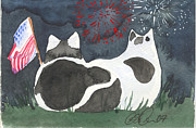 4th July Painting Metal Prints - Patriotic Cats Metal Print by Christine Callahan