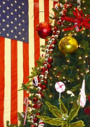 Christmas Trees Posters - Patriotic Christmas Poster by Carol Groenen