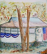 Patriotic Paintings - Patriotic Cottage by Elaine Duras