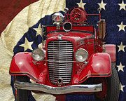 William Havle Art - Patriotic Fire Truck by William Havle