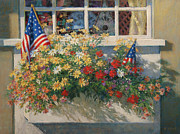 4th July Painting Originals - Patriotic Flower Box by Sharon Will
