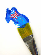 Paintbrush Photo Posters - Patriotic Paint Poster by Diane Diederich
