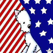 Cute Dog Digital Art - Patriotic Peekaboo Westie by Kim Niles