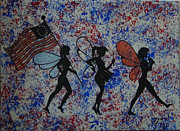 4th July Painting Metal Prints - Patriotic Pixie fairy Metal Print by Tim Casner