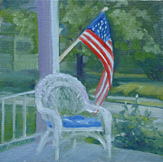 Fourth Of July Painting Originals - Patriotic Porch by Judy Fischer Walton