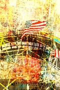 Juvenile Wall Decor Mixed Media Metal Prints - Patriotic Roller Coaster Metal Print by Anahi DeCanio