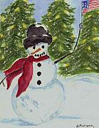 Patriotic Paintings - Patriotic Snowman by Brenda Mullaney
