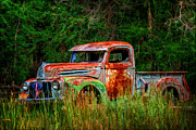 Old Relics Digital Art Prints - Patriotic Truck Print by Priscilla Burgers