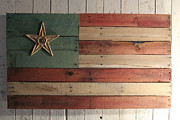 Folk Sculpture Posters - Patriotic Wood Flag Poster by John Turek