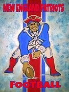 Nfl Sports Paintings - Patriots Football by Gary Niles