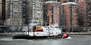 Uscg Prints - Patrolling the East River Print by JC Findley