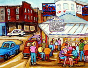 Fast Paintings - Pats King Of Steaks Philadelphia Restaurant South Philly Italian Market Scenes Carole Spandau by Carole Spandau
