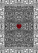 Sharon Digital Art - Pattern 19 - Heart Art - Black And White Exquisite Pattern By Sharon Cummings by Sharon Cummings