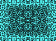 Sharon Digital Art - Pattern 22 - Intricate Exquisite Aqua Pattern Art Prints by Sharon Cummings
