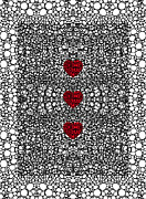 Wall Art Prints Digital Art Metal Prints - Pattern 34 - Heart Art - Black And White Exquisite Patterns By Sharon Cummings Metal Print by Sharon Cummings