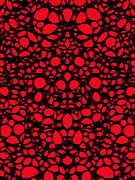 Red And Black Posters - Pattern 6 - Intricate Exquisite Design Patterns Art Poster by Sharon Cummings