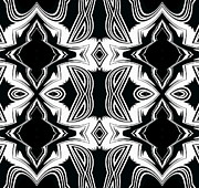 Op Art Digital Art Posters - Pattern Black and White Art No.287. Poster by Drinka Mercep
