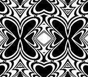 Op Art Digital Art Posters - Pattern Black White Art No.266  Poster by Drinka Mercep