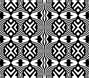Op Art Digital Art Posters - Pattern Black White Art No.304. Poster by Drinka Mercep