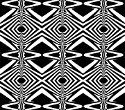 Op Art Digital Art Posters - Pattern Black White Art Print No.319. Poster by Drinka Mercep