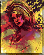 Sketch Pyrography Posters - Pattern Girl Poster by Steve Hogan