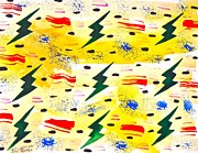 Lightning Bolts Painting Prints - Pattern Lightning Bolts Print by Troy Thomas