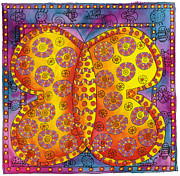 Patterned Mixed Media Prints - Patterned Butterfly Print by Julie Nicholls
