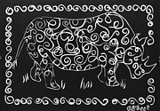 Lino Cut Print Framed Prints - Patterned Rhino Framed Print by Caroline Street